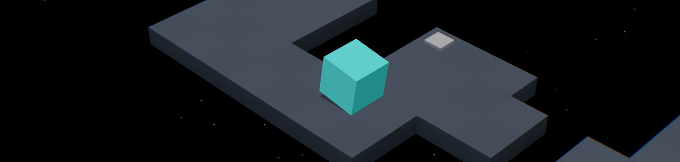 Un cubo desprázase sobre unha superficie estreita