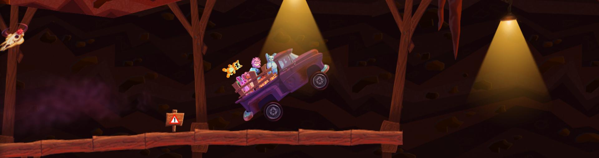 Unha camioneta avanza por un camiño de madeira co fuciño erguido e porta na parte traseira uns seres de peluche, un saíu despedido.