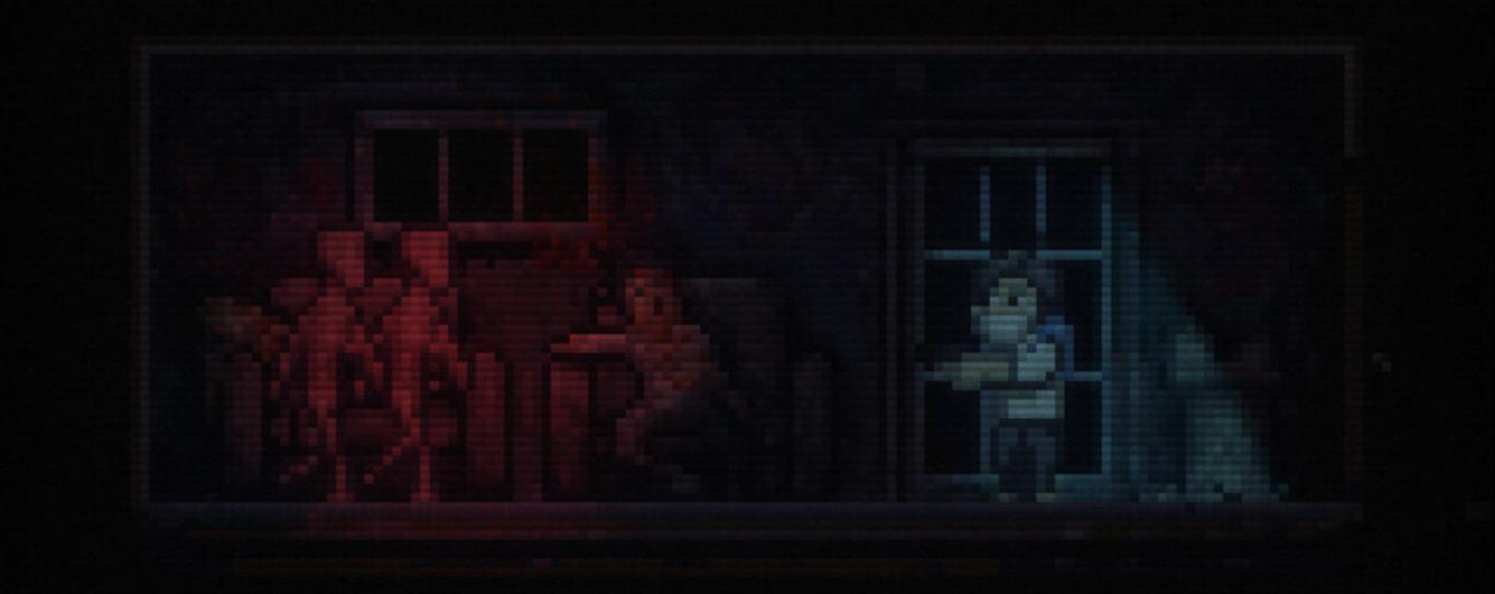 Un hombre ase una pistola en una habitación en penumbra, otros dos yacen muertos en unos sillones y hay dos extrañas criaturas.